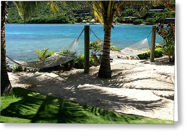 Saba Rock Greeting Cards - Tropical Hammocks Greeting Card by Darrin Aldridge