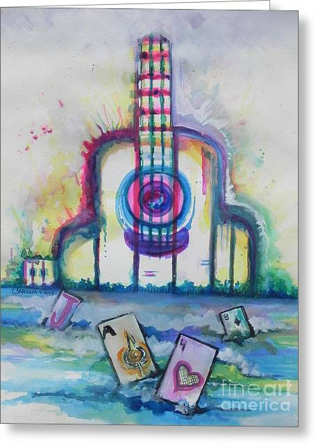 Playing Cards Greeting Cards - Tropical Hard Rock Cafe Greeting Card by Chrisann Ellis