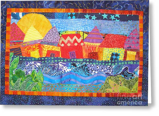 Bright Tapestries - Textiles Greeting Cards - Tropical Harmony Greeting Card by Susan Rienzo