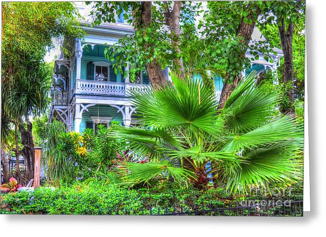Florida House Greeting Cards - Tropical House Greeting Card by Debbi Granruth
