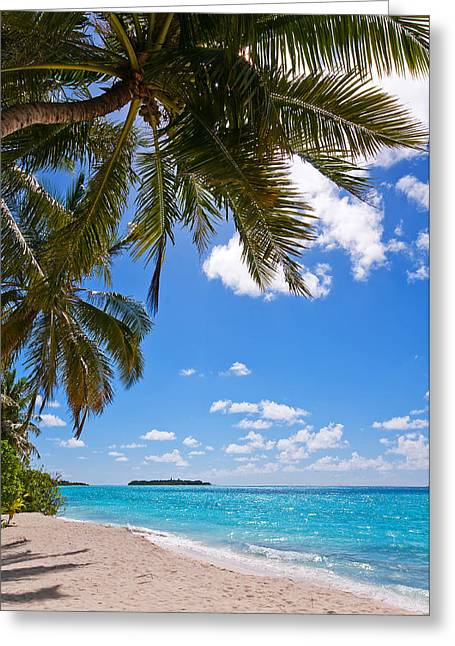 Blue Green Wave Greeting Cards - Tropical Island Beach Greeting Card by Jenny Rainbow