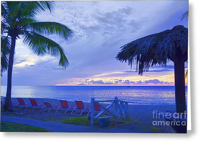 Chaise Lounges Greeting Cards - Tropical Island Greeting Card by Betty LaRue
