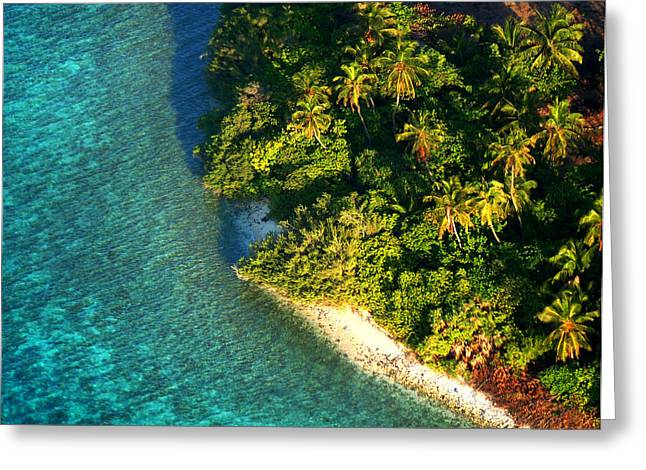 Maldivian Greeting Cards - Tropical Island from Above. Aerial Journey over Maldives  Greeting Card by Jenny Rainbow