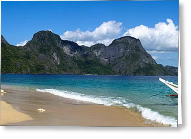 El-nido Greeting Cards - Tropical Island Panoramic View Greeting Card by Marcin Gabruk