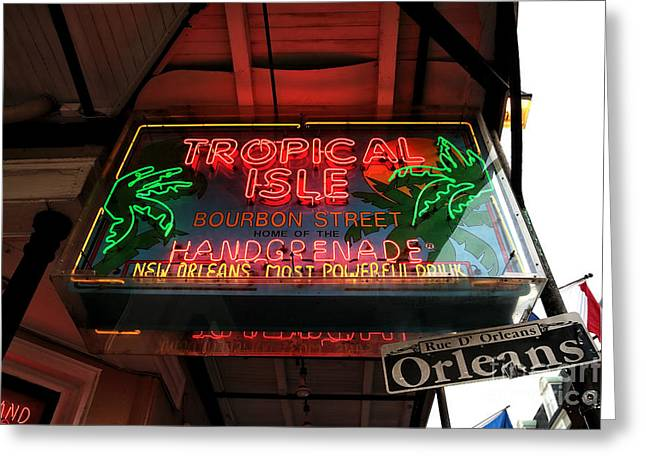 Tropical City Prints Greeting Cards - Tropical Isle on Bourbon Greeting Card by John Rizzuto