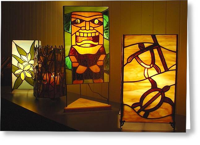 Tropical Stain Glass Glass Art Greeting Cards - Tropical Lamps by DK. Nagano Greeting Card by DK Nagano