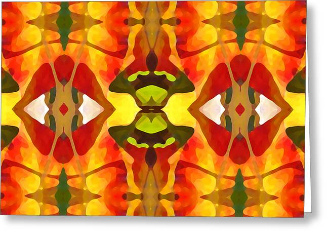 Abstract Beach Landscape Greeting Cards - Tropical Leaf Pattern 4 Greeting Card by Amy Vangsgard