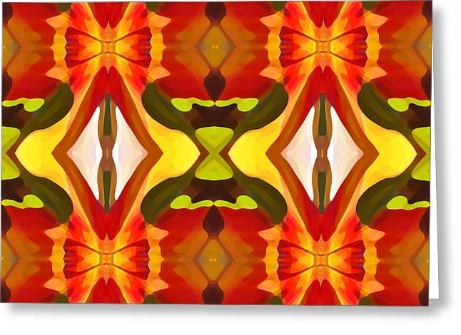 Abstract Beach Landscape Greeting Cards - Tropical Leaf Pattern 6 Greeting Card by Amy Vangsgard