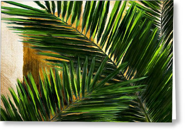 Botany Greeting Cards - Tropical Leaves Greeting Card by Lourry Legarde