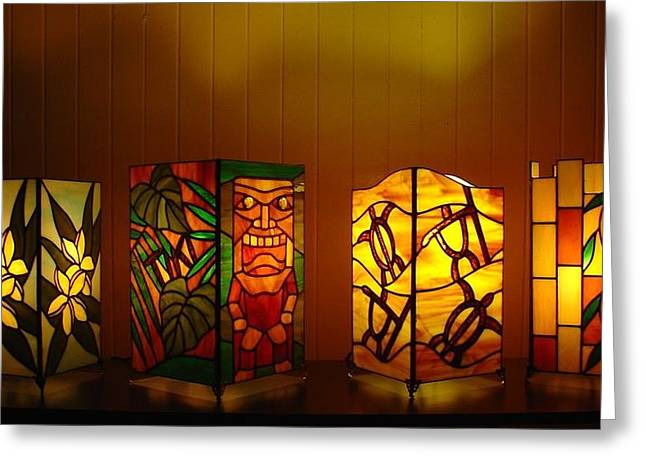 Tropical Stain Glass Glass Art Greeting Cards - Tropical Lights for Tropical Nights Greeting Card by DK Nagano