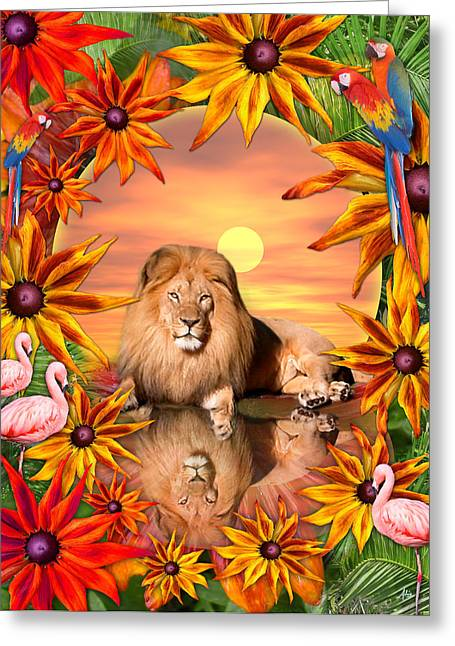 Fantasy Animal Greeting Cards - Tropical Lion Greeting Card by Alixandra Mullins