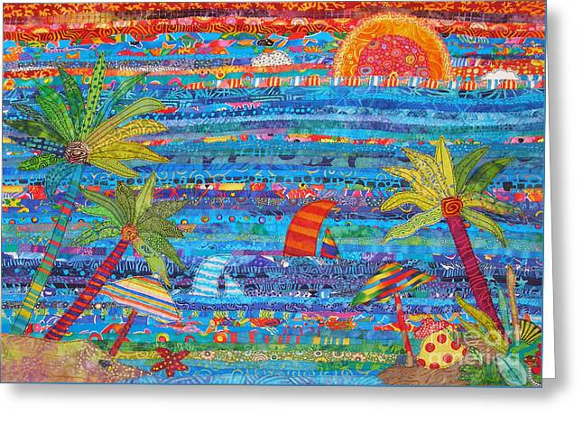 Bright Colors Tapestries - Textiles Greeting Cards - Tropical Moments Greeting Card by Susan Rienzo