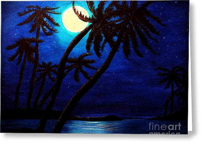 Beach At Night Greeting Cards - Tropical Moon on the Islands Greeting Card by Barbara Griffin