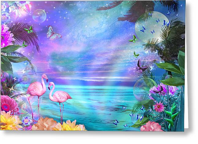 Tropical Moonlight Flamingos Greeting Card by Alixandra Mullins