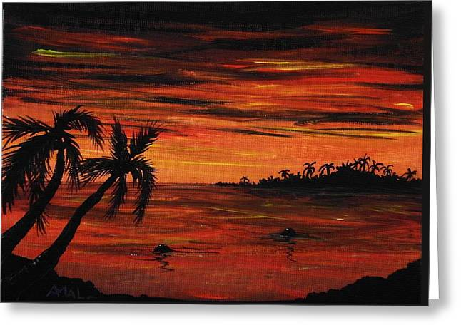 Interior Scene Greeting Cards - Tropical Night Greeting Card by Anastasiya Malakhova