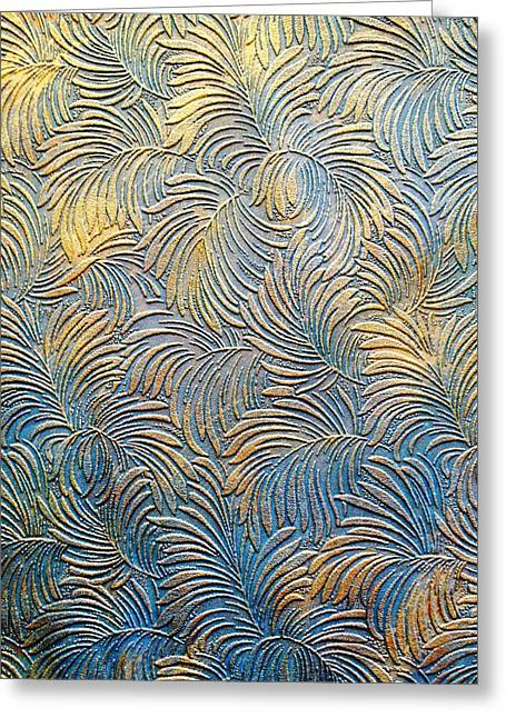 Tropical Palms - Blue Green And Metallic Gold Greeting Card by Artistic Mystic