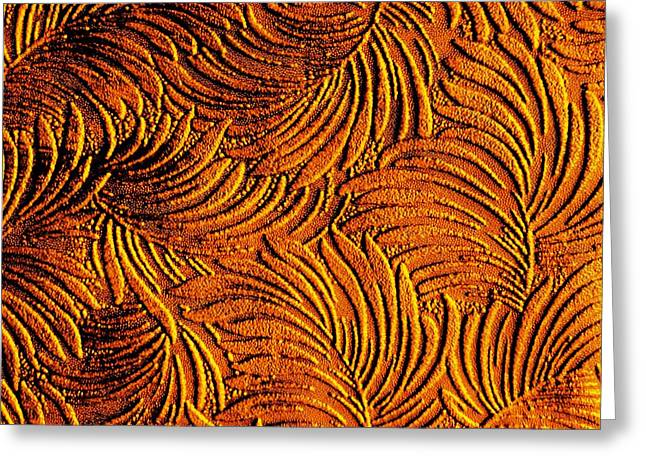 Tropical Palms - Metallic Copper Bronze Gold Greeting Card by Artistic Mystic