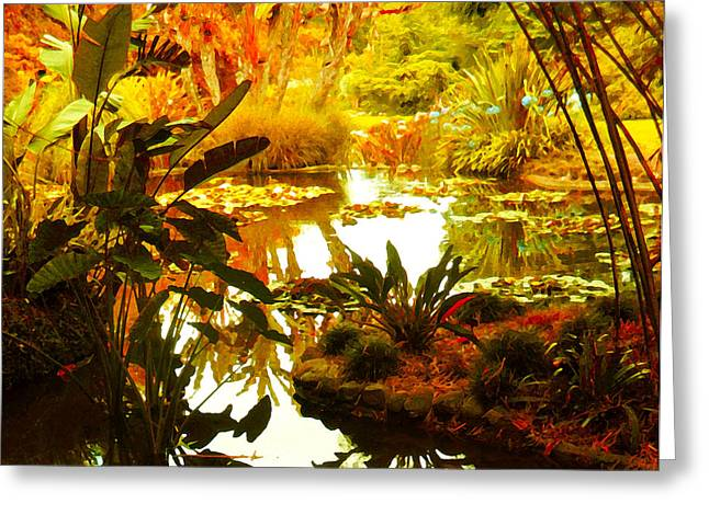 Water Garden Digital Art Greeting Cards - Tropical Paradise Greeting Card by Amy Vangsgard