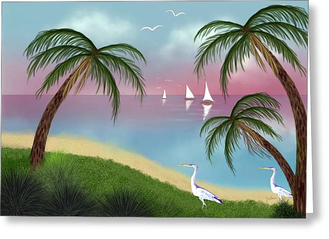 Zelma Hensel Greeting Cards - Tropical Paradise Greeting Card by Zelma Hensel