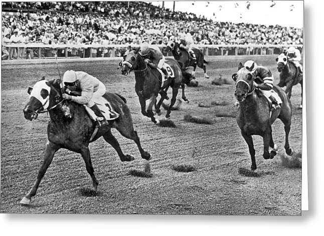 Tropical Park Horse Race Greeting Card by Underwood Archives