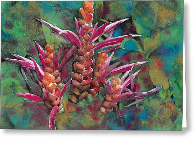 Fushia Mixed Media Greeting Cards - Tropical Plant 3 Greeting Card by Susan Powell