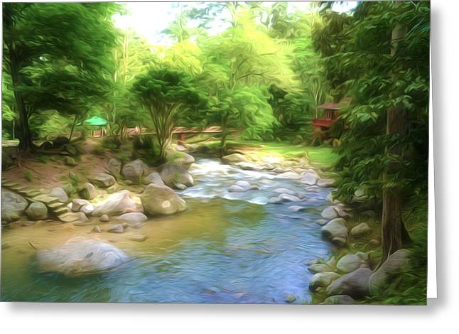Exposure Paintings Greeting Cards - Tropical rainforest and river at  Malaysia Greeting Card by Lanjee Chee