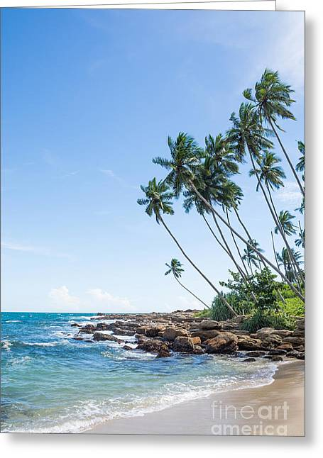 Southern Province Greeting Cards - Tropical rocky beach Greeting Card by Christina Rahm