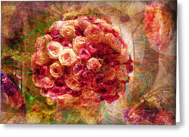 Graphics Framed Prints Greeting Cards - English Rose Bouquet Greeting Card by Melinda Dreyer