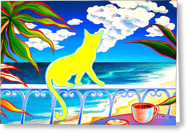 Energize Paintings Greeting Cards - Tropical Sea Breeze Greeting Card by Gem J Shimada