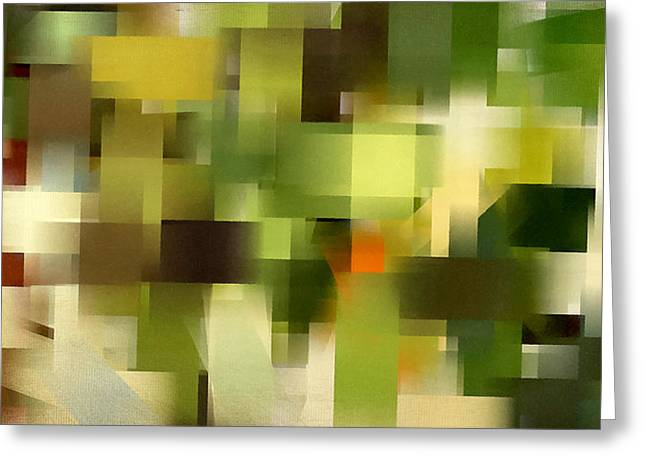 Green And Yellow Abstract Greeting Cards - Tropical Shades - Green Abstract Art Greeting Card by Lourry Legarde