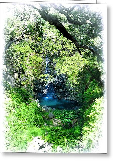 Lush Green Digital Greeting Cards - Tropical Shangri-la Greeting Card by Ellen Cotton