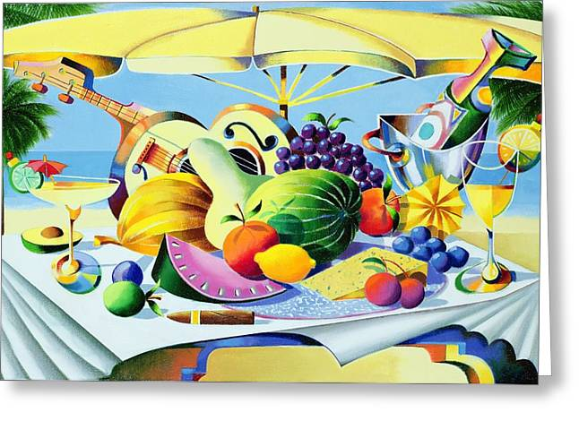 Melon Paintings Greeting Cards - Tropical Still Life Greeting Card by Andrew Hewkin