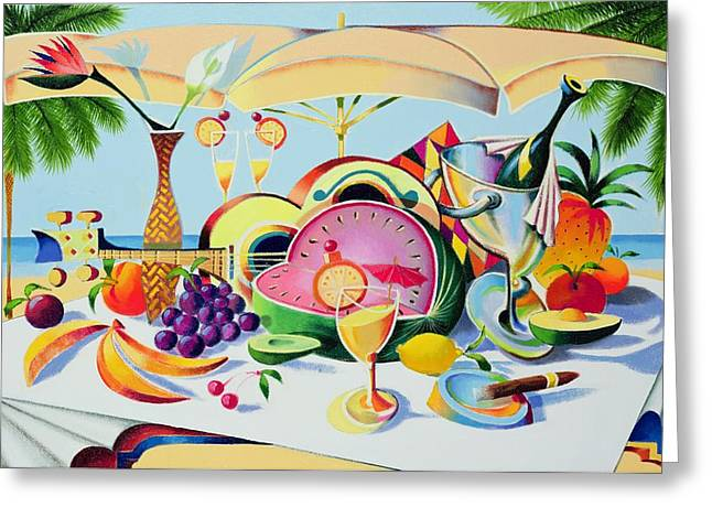 Melon Paintings Greeting Cards - Tropical Still Life for a Cuban Cubist Greeting Card by Andrew Hewkin