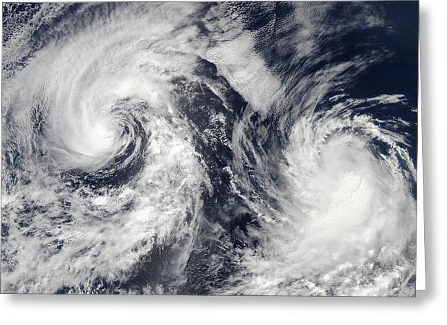 Ocean Images Greeting Cards - Tropical storms Boris and Cristina, 2008 Greeting Card by Science Photo Library