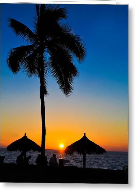 Cabanas Greeting Cards - Tropical Summer Sunset Greeting Card by Aged Pixel