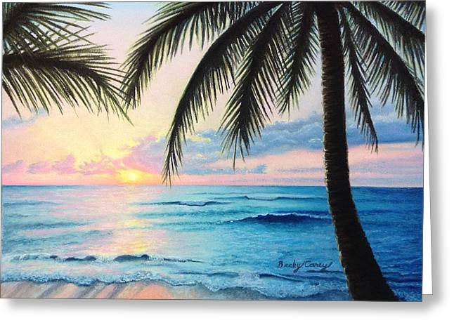 Becky Pastels Greeting Cards - Tropical Sunrise Greeting Card by Becky Carey
