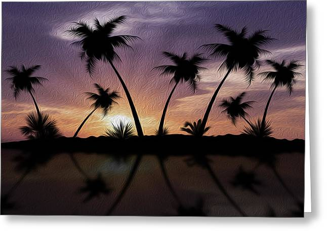 Calm Waters Mixed Media Greeting Cards - Tropical Sunset Greeting Card by Aged Pixel