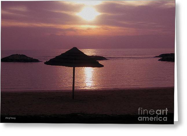 Peaceful Images Greeting Cards - Tropical Sunset Greeting Card by Cheryl Young