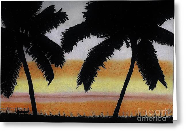 Sunset Seascape Drawings Greeting Cards - Tropical - Sunset Greeting Card by D Hackett