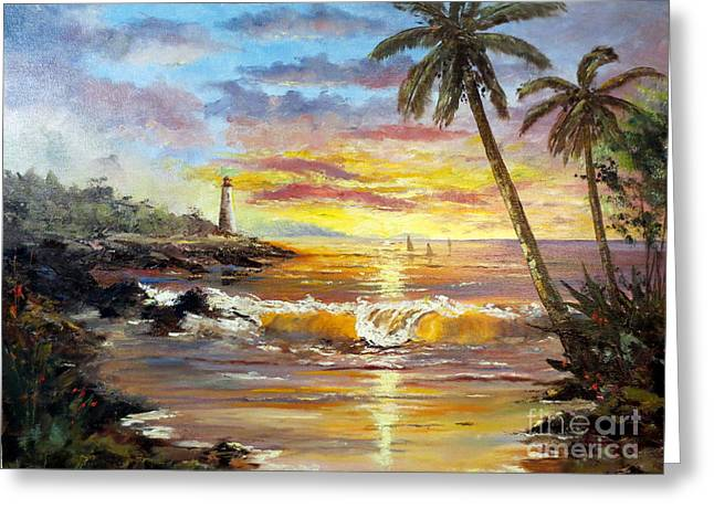 Sailboat Images Paintings Greeting Cards - Tropical Sunset Greeting Card by Lee Piper