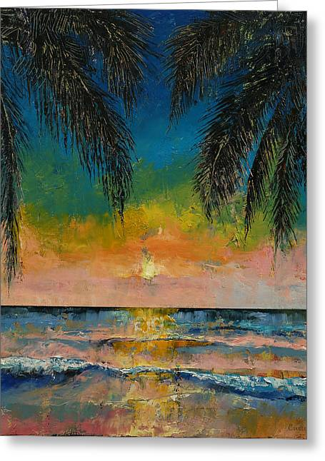 Abstract Waves Greeting Cards - Tropical Sunset Greeting Card by Michael Creese