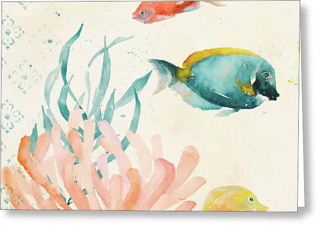 Tropical Teal Coral Medley II Greeting Card by Lanie Loreth