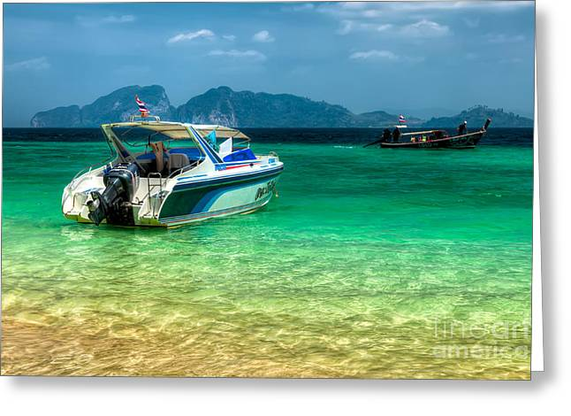 Speed Boat Greeting Cards - Tropical Travel Greeting Card by Adrian Evans