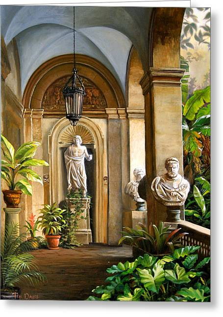 Tropical Plants Greeting Cards - Tropical Veranda Greeting Card by Tim Davis