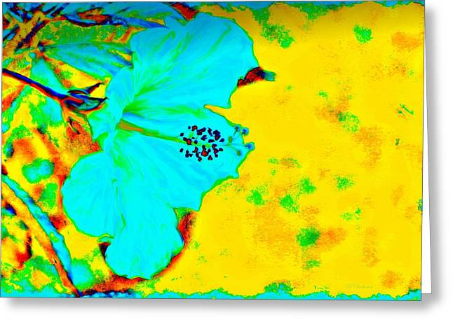 Stamen Digital Art Greeting Cards - Tropical Vibrance In Hibiscus Greeting Card by Barbara Chichester