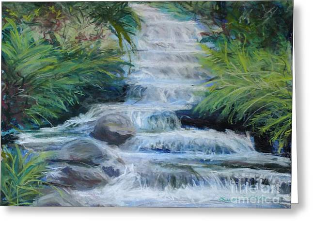 Waterfall Pastels Greeting Cards - Tropical Waterfall Greeting Card by Laura Sullivan
