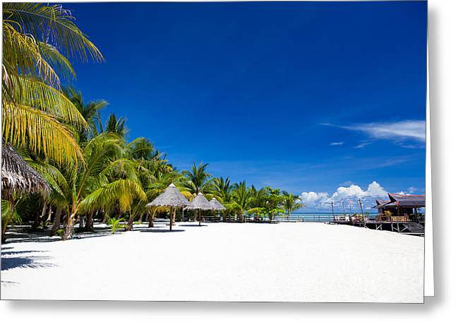 Exoticism Greeting Cards - Tropical White Sand Beach Borneo Malaysia Greeting Card by Fototrav Print