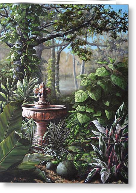 Cordylines Greeting Cards - Florida Tropical Garden Greeting Card by Joan Garcia