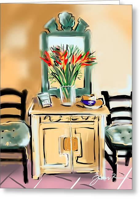 Vase Of Flowers Drawings Greeting Cards - Tropicana Motif Greeting Card by Jean Pacheco Ravinski