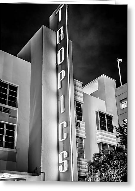 1930s Portraits Greeting Cards - Tropics Hotel Art Deco District SOBE MiamI - Black and White Greeting Card by Ian Monk
